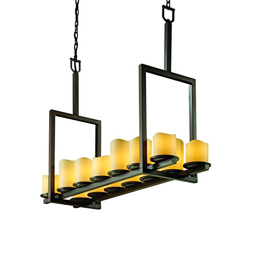 Justice Design Group CandleAria 14-Light Chandelier - Matte Black Finish with Amber Faux Candle Resin Shade Matte Black Candlearia Chandelier