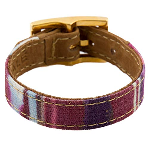 LALÉ Woman wrap Genuine Leather Bracelet   Twists Once Around The Wrist   Ironwork Plated in Gold Buckle for Closure   Adjustable Size   Handmade Jewelry (Magenta Stripes, 6.5)
