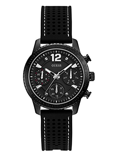 GUESS Women's Quartz Stainless Steel and Silicone Casual Watch, Color:Black (Model: U1025L3)