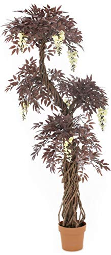 - Vert Lifestyle Quality Artificial Japanese Fruticosa Tree (Choose Colour Options: Green/Red/with Flowers) Replica Indoor Outdoor Office Topiary Tree Plant - 165cm Tall (Red with Flowers)