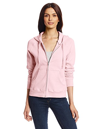 Hanes Women's Full Zip EcoSmart Fleece Hoodie, Pink, (Drawstring Womens Sweater)