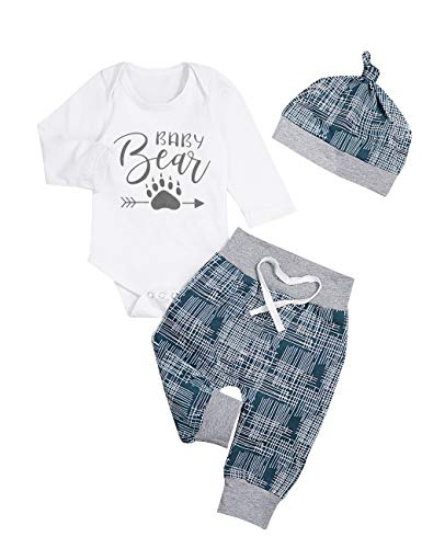 Newborn Baby Boy Clothes New to The Crew Letter Print Romper Long Pants Hat 3PCS Outfits Set Breathable and Soft (I-White, 0-3 Months)