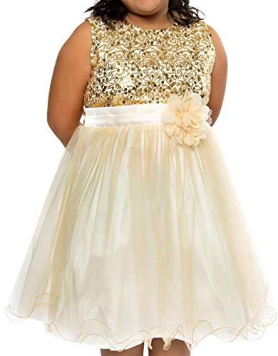 Big Girls' Sequin Junior Bridesmaid Wedding Pageant Flower Girl Dress Gold Size 20.5 (K305D)