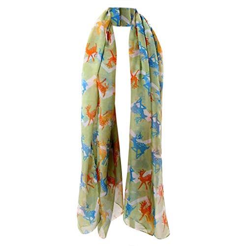(HYIRI Easy Care Fashion Women Ladies Scarf Deer Animal Infinity Wrap Silk Shawl)
