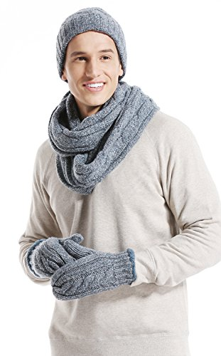 Lovful Men 3-Pieces Knitting Hats Set, Beanie Hat Skull Cap, Scarf,Glove ,Blue