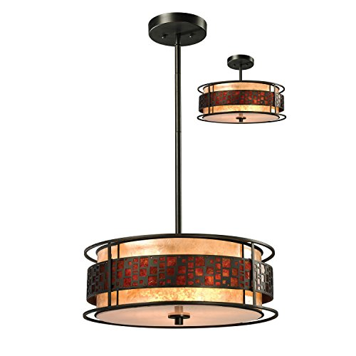 - Z-Lite Z18-50P-C 3-Light Pendant with Metal Frame, White and Amber Mica