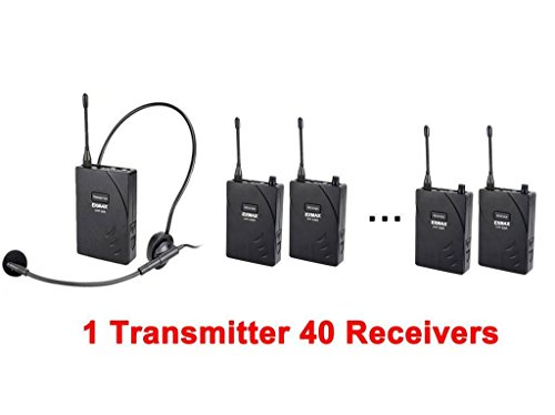 EXMAX UHF-938 UHF Acoustic Transmission Wireless Headset Microphone Audio Tour Guide System 433MHz for Church Translation Teaching Travel Simultaneous Interpretation.(1 Transmitter and 40 Receivers) by EXMAX