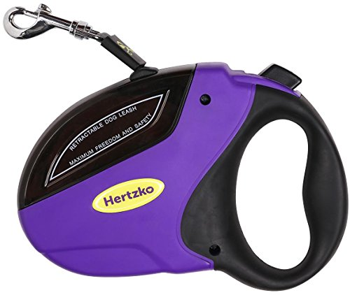 Heavy Duty Retractable Dog Leash By Hertzko – Great for Small, Medium & Large Dogs up to 110lbs – Strong Nylon Ribbon Extends 16ft