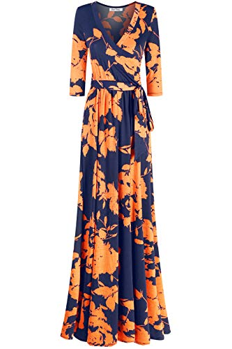 (Bon Rosy Women's 3/4 Sleeve V-Neck Printed Maxi Faux Wrap Mothers Day Floral Dress Navy Coral M)