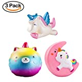 WATINC 3 Pcs Unicorn squishy Sweet Scented Vent Charms Slow Rising squishies Kawaii Kid Toy , Lovely Stress Relief Toy, Animals Gift Fun Large(blue moon unicorn set)