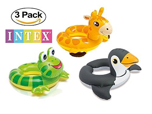 Ring Pool (3 Pack - Intex 59220EP - Animal Head Split Ring Pool Floats Bundle Includes Frog, Giraffe & Penguin)