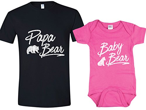 Texas Tees Papa Bear Baby Bear Onsie, Shower Gift for New Dad,Black Papa Bear, Pink Baby Bear Set,Mens (Large) & 6-12 Month]()