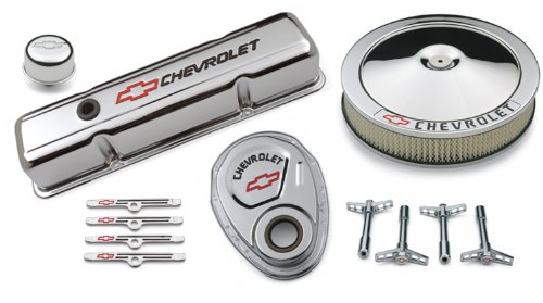- Proform 141-900 Chrome Engine Dress-Up Kit with Black Chevrolet/Red Bowtie Logo for Small Block Chevy