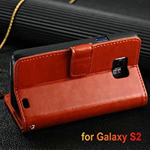 DHL Luxury K-cool Wallet Style with Stand PU leather case for Samsung Galaxy S2 i9100 SII Phone Bag with Card Holder 50 pcs/lot --- Color:random colors