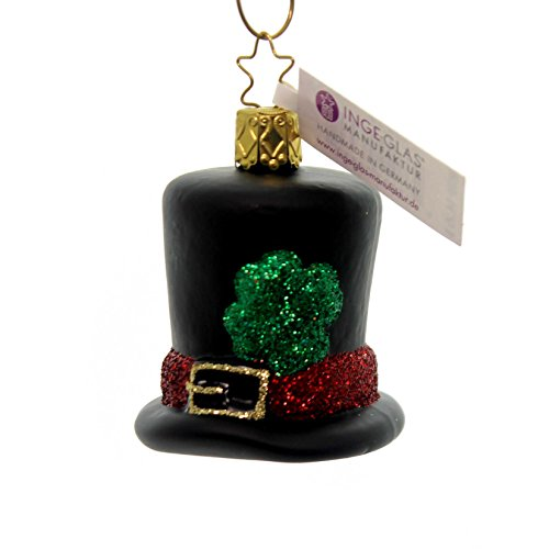 Inge Glas Lucky Top Hat 1-012-17 German Blown Glass Christmas Ornament Gift Box - Top Hat Blown Glass Ornament