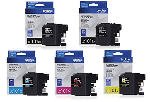 Genuine Brother LC101 (LC-101) Color (Bk/C/M/Y) Ink Cartridge 5-Pack (2xLC101BK, LC101C, LC101M, LC101Y) for Brother MFCJ470DW MFCJ475DW MFCJ650DW MFCJ870DW MFCJ875DW (Brother Printer Lc101)