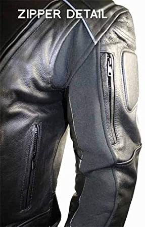 Xelement B9119 Mens Black Armored Leather Motorcycle Jacket Small