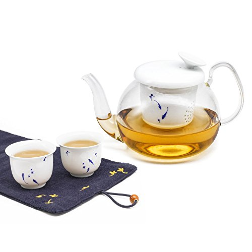 ZENS   Glass Teapot Set   Transparent Glass Teapot with White Porcelain Infuser   Non-Dripping Spout   Heat Resistant Curved Shaped Handle   Includes 20 oz Teapot, Porcelain Infuser for (Curved Teapot)