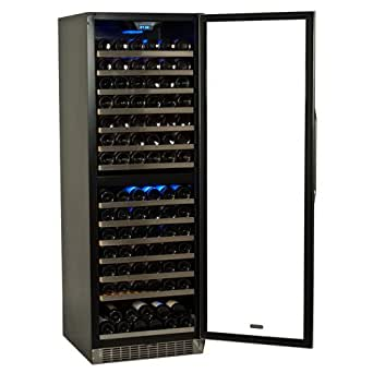 EdgeStar 155 Bottle Built-In or Freestanding Dual Zone Wine Cooler - Stainless Steel/Black