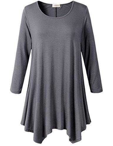 Lanmo Women Plus Size 3/4 Sleeve Tunic Tops Loose Basic Shirt (2X, Deep Gray)