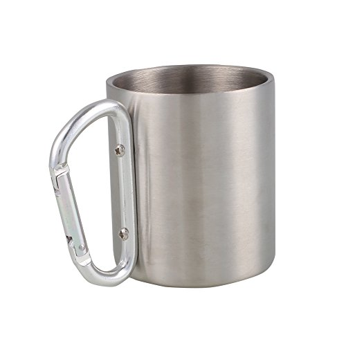 7.5 OZ Portable Hiking Cup,Durable Mug,Stainless Steel Cup with Carabiner Handle
