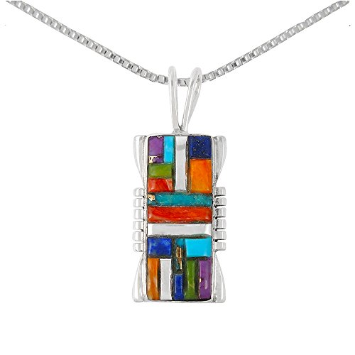 Turquoise & Gemstones Pendant Necklace in Sterling Silver (Select Style) (Rectangle) ()