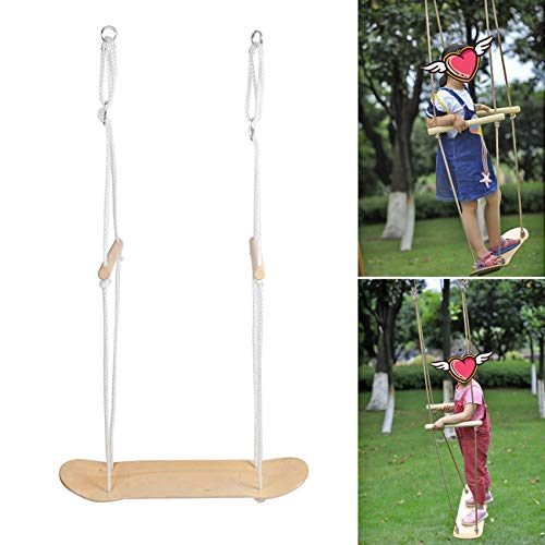 BEAMNOVA Surfer Swing Outdoor Tree Swing Hanging Kit Long Rope 60 Ft 250 lbs Capacity Swing Seat Outdoor Straps Adjustable Handles Wood Blank Board DIY Available Without Decal -