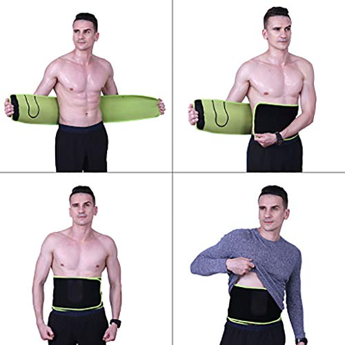 Fine Waist Trimmer Belt,Compression Sweat Waist Trimmer Belt Stomach Fat Burner, Lumbar Support, Back Brace, Sport Girdle with Men (Black)