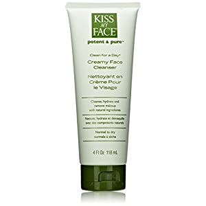 Kiss My Face Organic Clean for a Day Creamy Face Cleanser, Face Wash 4 Ounce Tubes (pack of 3)