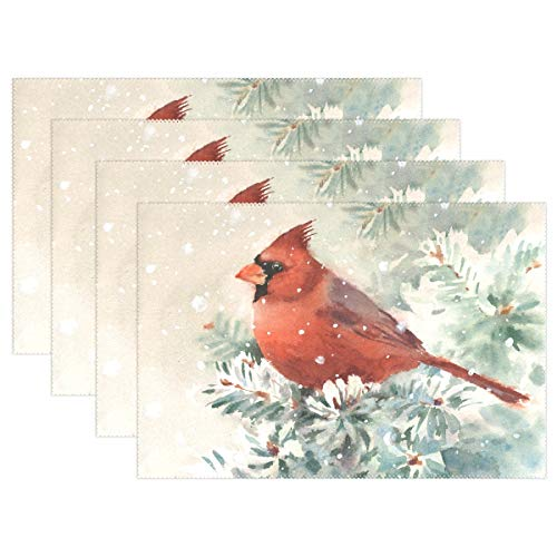 - ALAZA Christmas Cardinal Bird Winter Holidays Placemats for Dining Table Heat Resistant Kitchen Table Decor Washable Table Mats Set of 4