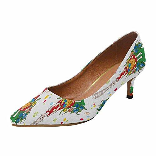 InterestPrint Womens Low Kitten Heel Pointed Toe Dress Pump Shoes Floral Easter Multi 1