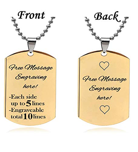 Interway Trading Personalized Small Size Custom Message Engraved Stainless Steel Necklace Dog Tag Pendant with 24 inch Chain,Velvet Giftpouch and Keyring (Rectangular ()