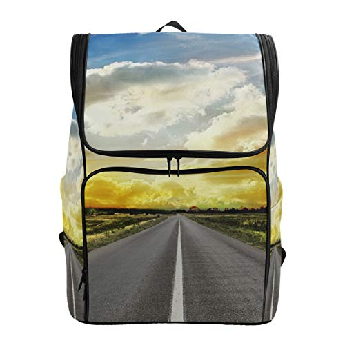 (Backpack Rucksack Travel Daypack Road Across Steppe Sunset Clouds Landscape Book Bag Casual Travel Waterproof)