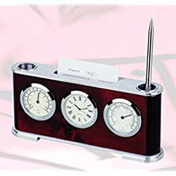 Heim Concept 15130 Elegance Clock, Pen Stand and Card Holder, Silver