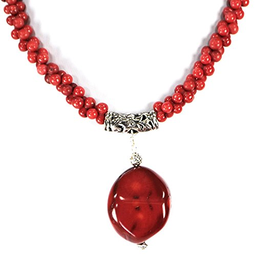 - Ny6design 008 Red Coral Peanut Beads & Large Pendant Long Necklace with Silver Plated Clasp 26
