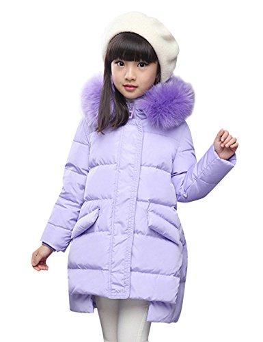 Menschwear Girl's Down Jacket Hooded Winter Warm Outwear (120,Purple) by Menschwear