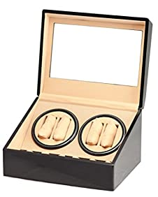 BRAND NEW BLACK 4+6 AUTOMATIC QUAD WATCH WINDER 6 DISPLAY STORAGE BOX CASE