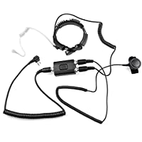 WGCD Professional Flexible Tactical Throat Mic Microphone Covert Acoustic Tube Earpiece Headset with Finger PTT for Motorola 2 PIN Two Way Radio GP CLS CP CT
