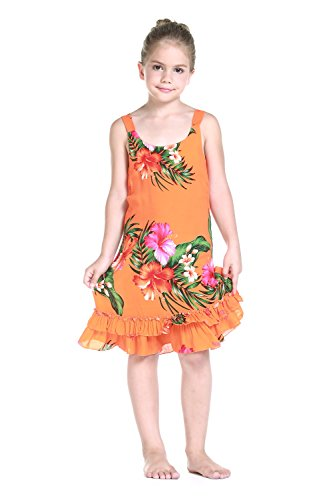 Girl Tank Ruffle Hawaiian Luau Dress in Orange 5-6