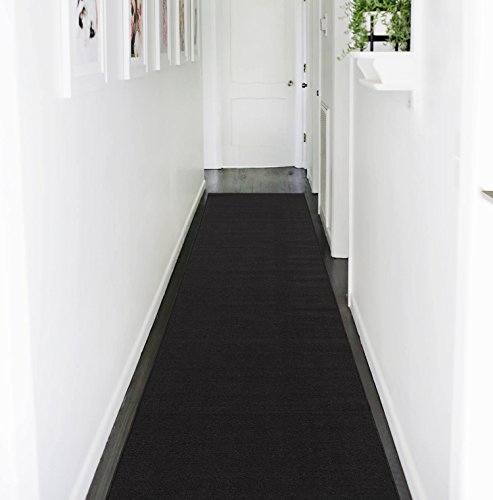 Ottohome Collection Solid Color Hallway And Wedding Runner Rug 3x12 Black