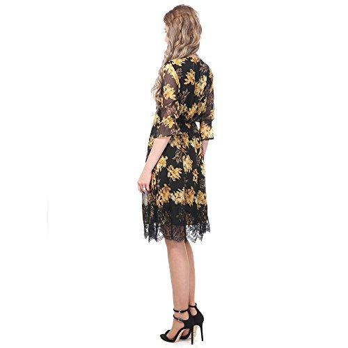 Printemps pour V de Soire Robe en col Vacances de Robe 3 Jaune lgante de t Manches Fleurs Manches Robe Robes 4 en Plage Mousseline Courtes NASHALYLY Femmes OSHq7ZS