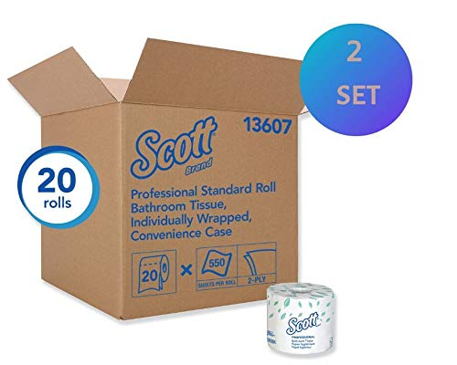 Scott Essential Standard Roll Bathroom Tissue, 2Ply, Traditional, 550 Sheets/RL, 20/CT -KCC13607 (2 Packs(20 Rolls))