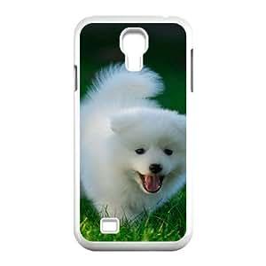 Yearinspace Cute Puppy Samsung Galaxy S4 Case Cute Puppy Running on Grassland Ilike Cute for Girls, Phone Case for Samsung Galaxy S4 Mini Cute for Girls [White]
