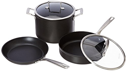 KitchenAid KCH2S10KM Professional Hard Anodized Nonstick 10-Piece Cookware Set - Black