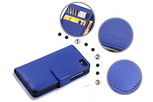 Cadorabo - Funda Blackberry Z10 Book Style de Cuero Sintético en Diseño Libro - Etui Case Cover Carcasa Caja Protección con Tarjetero en MARRÓN-COGNAC AZUL-REAL