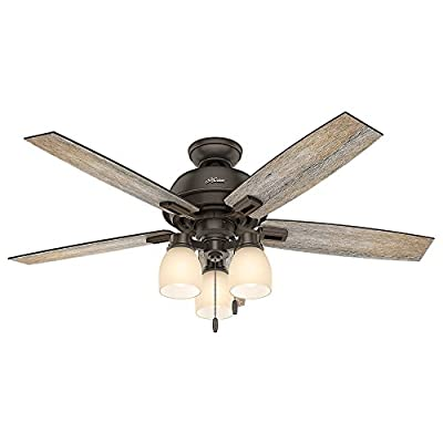 Hunter 53336 Casual Donegan Onyx Bengal Ceiling Fan With Light, 52""