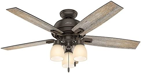 Hunter Donegan Indoor Ceiling Fan with LED Lights and Pull Chain Control, 52 , Onyx Bengal