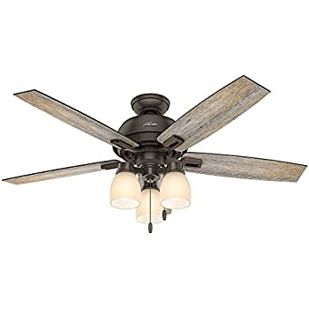 Hunter 53336 casual donegan onyx bengal ceiling fan with light 52
