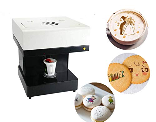 KUNHEWUHUA 3D Latte Art Printer Coffee Printer Cake Edible Ink Printer Cafe Maker Milk Tea Printer Ice Cream Yogurt Biscuits Intelligent Text Image Printer 110v/ 220v for Bakery Coffee Shop ()