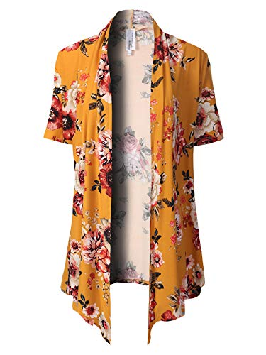 - MixMatchy Women's [Made in USA] Solid Jersey Knit Short Sleeve Open Front Draped Cardigan (S-3XL) Mustard2 Flower Print 2XL